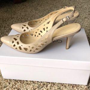 Calvin Klein adobe/ nude strappy heels